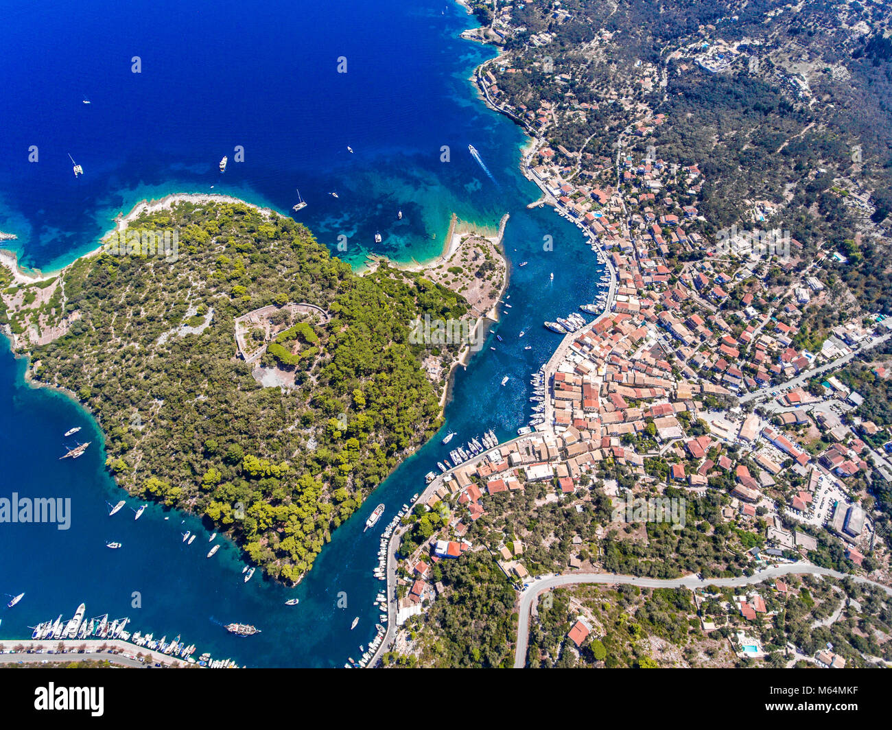 Paxos island from above. Aerial view of the small town Gaios, capital of the island. Stock Photo