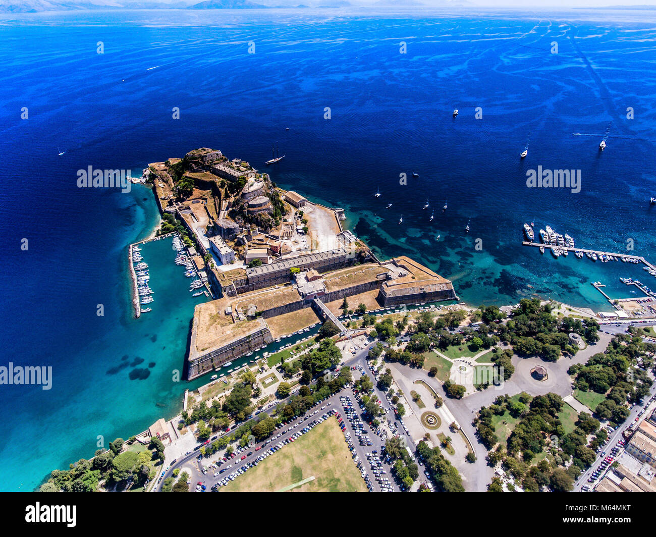 The old venetian fortress in Corfu town, the capital of Kerkyra Island, Greece. Aerial photography. Stock Photo
