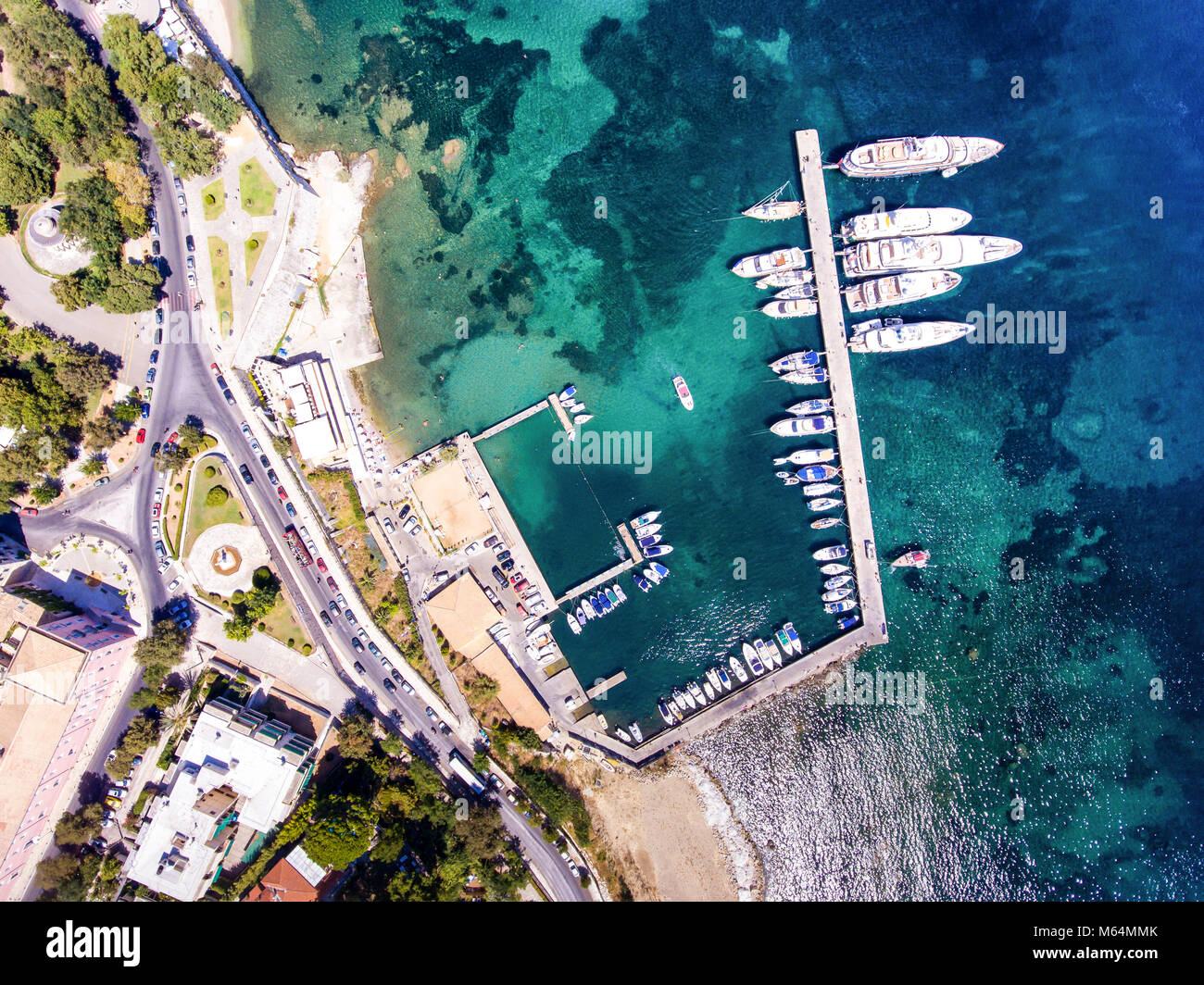 Corfu town new yacht harbour as seen from above. Aerial view of the capital of the island Corfu - Kerkyra, Greece. Stock Photo