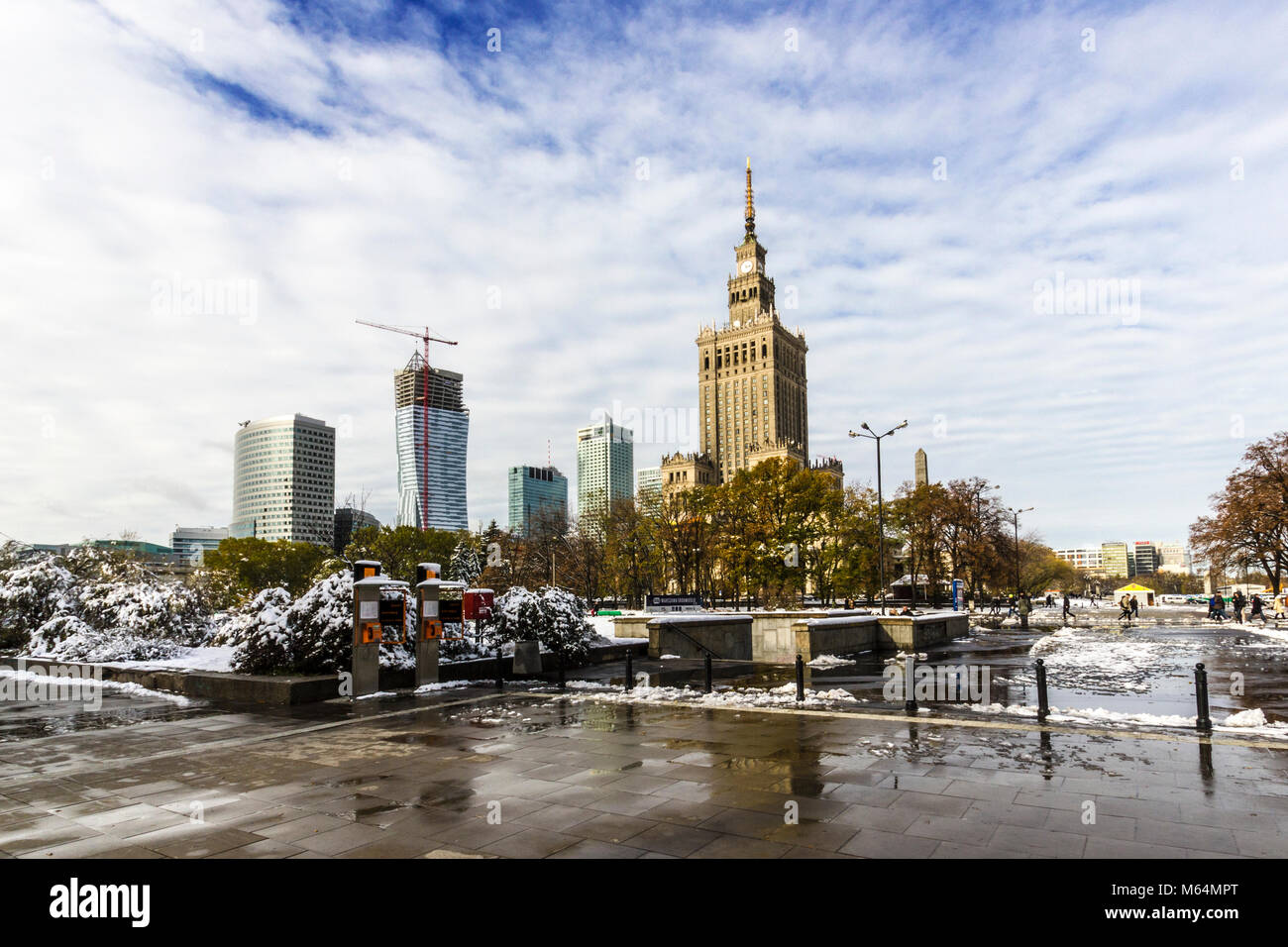 Palace of Culture and Science is located in the center of Warsaw - Stock Image