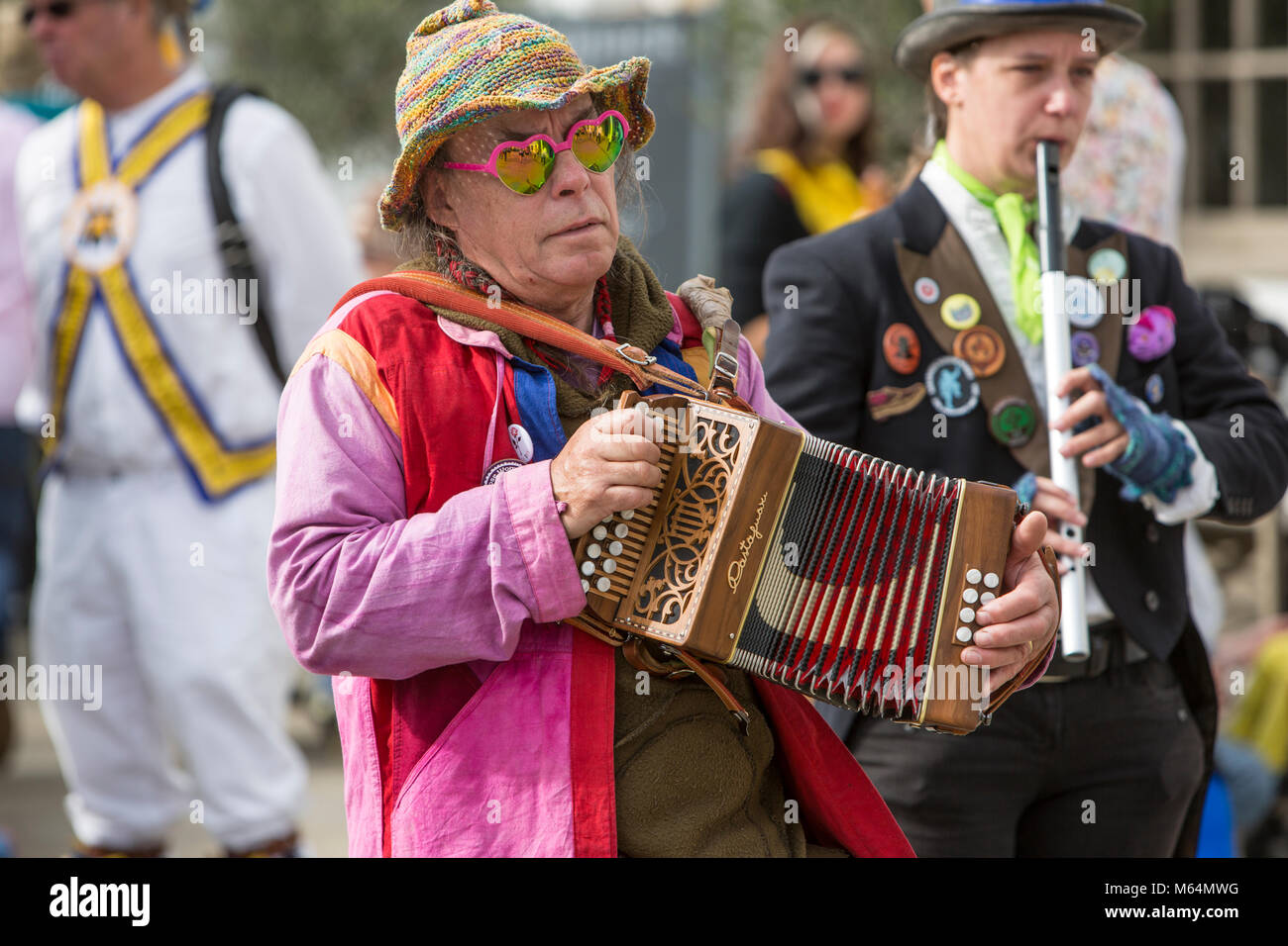 Squeeze box player at Tenterden Folk Festival - Stock Image