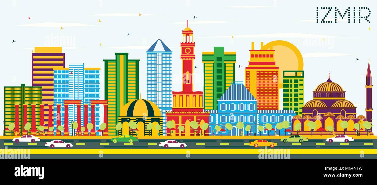 Izmir Turkey City Skyline With Color Buildings And Blue Sky Vector Stock Vector Image Art Alamy