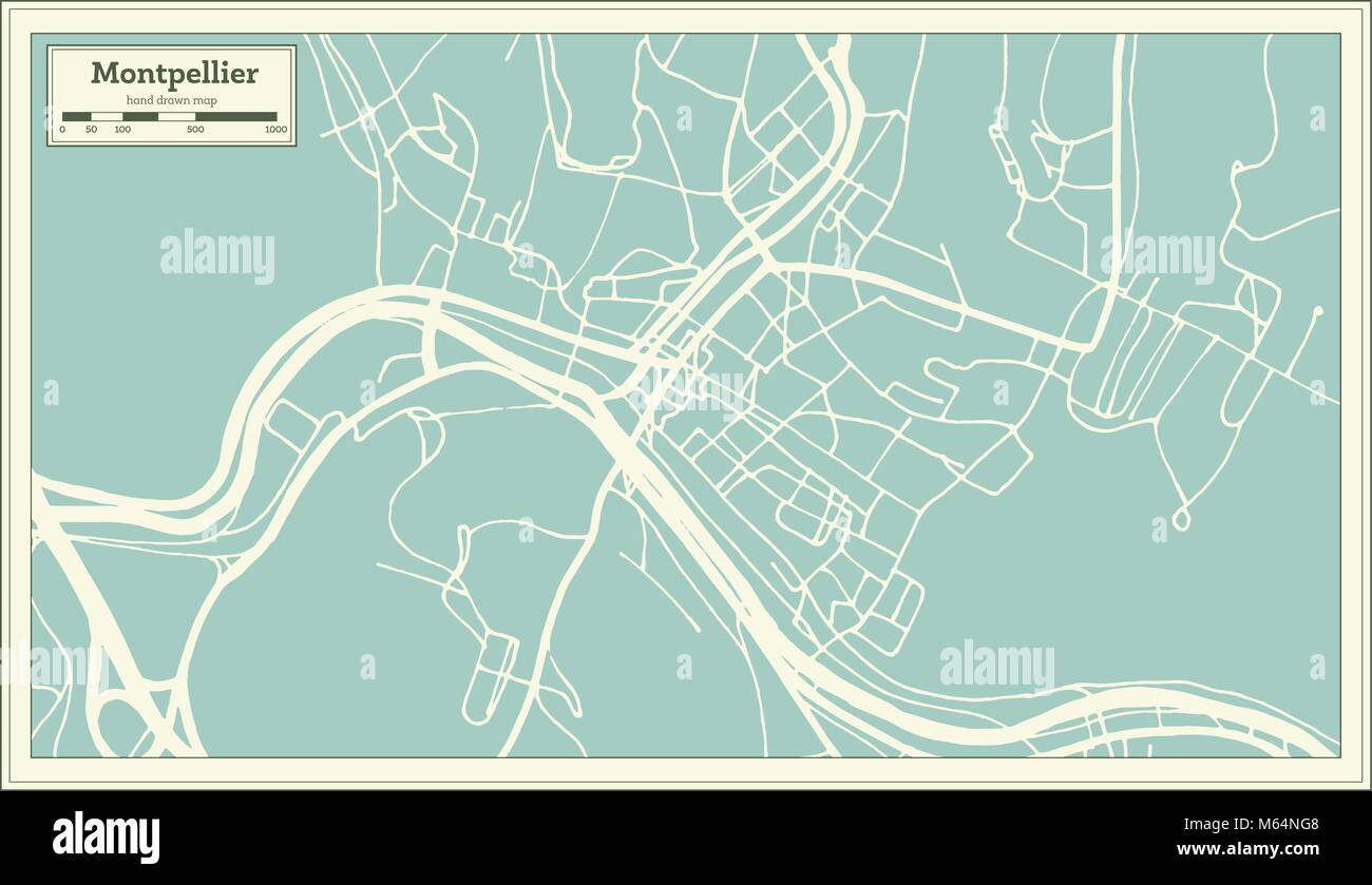 Montpelier Vermont USA City Map in Retro Style. Outline Map ...