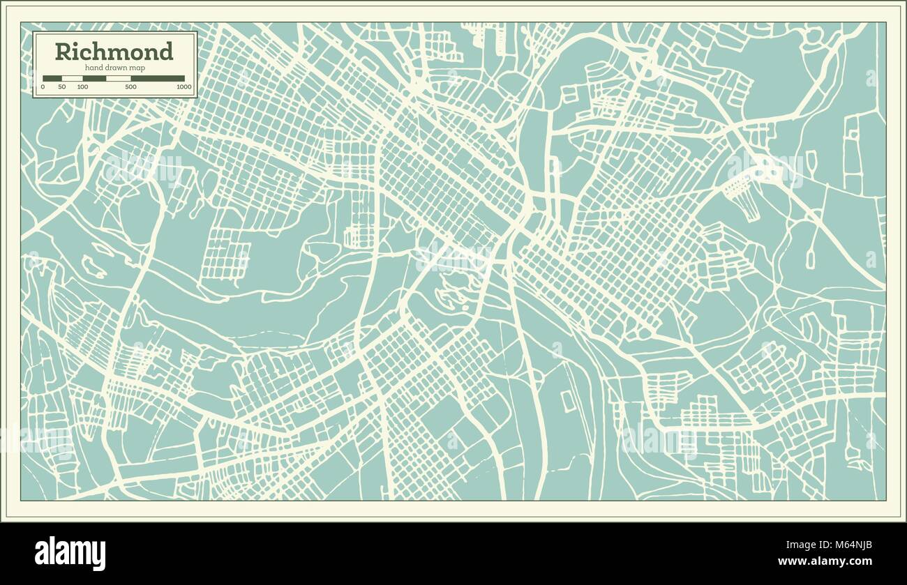 Richmond Virginia USA City Map in Retro Style. Outline Map. Vector ...