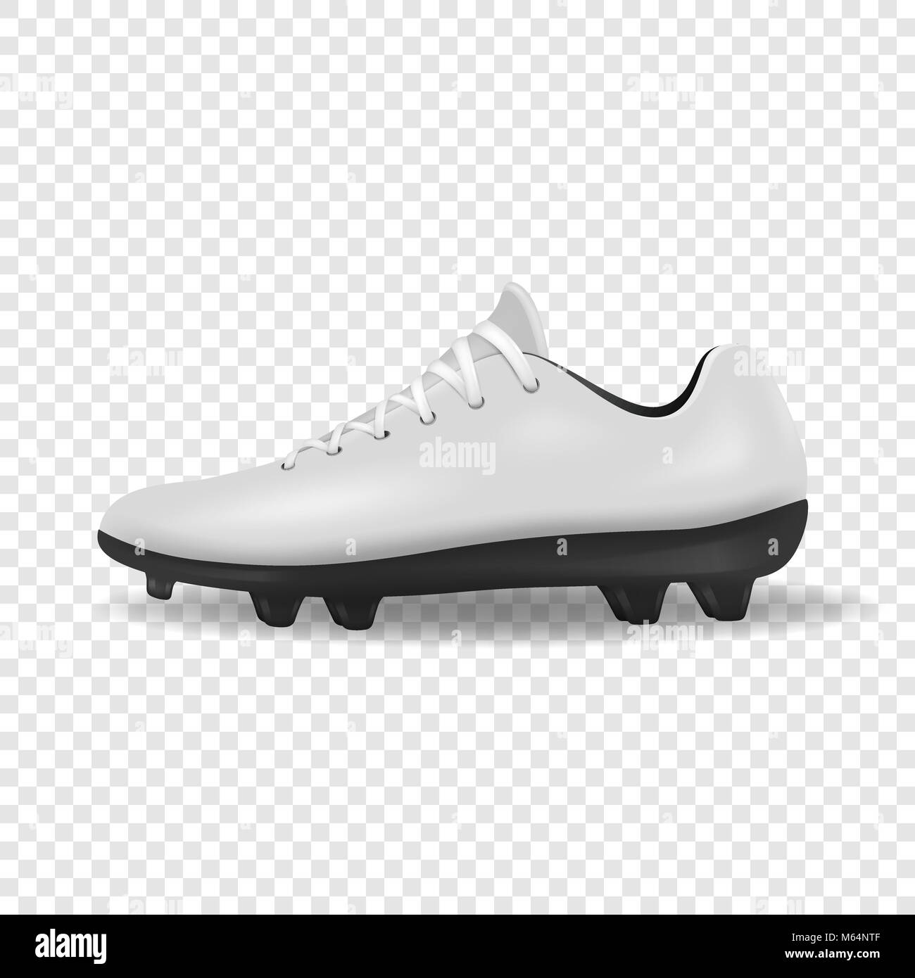 Photo-realistic vector 3d white empty, blank mens football or soccer boots, shoes icon closeup isolated on transparency - Stock Image