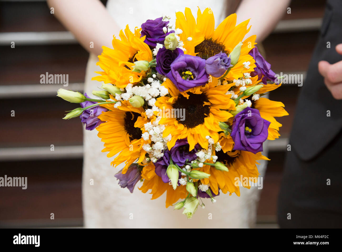 Sunflower wedding bouquet stock photo 175896740 alamy sunflower wedding bouquet junglespirit Images