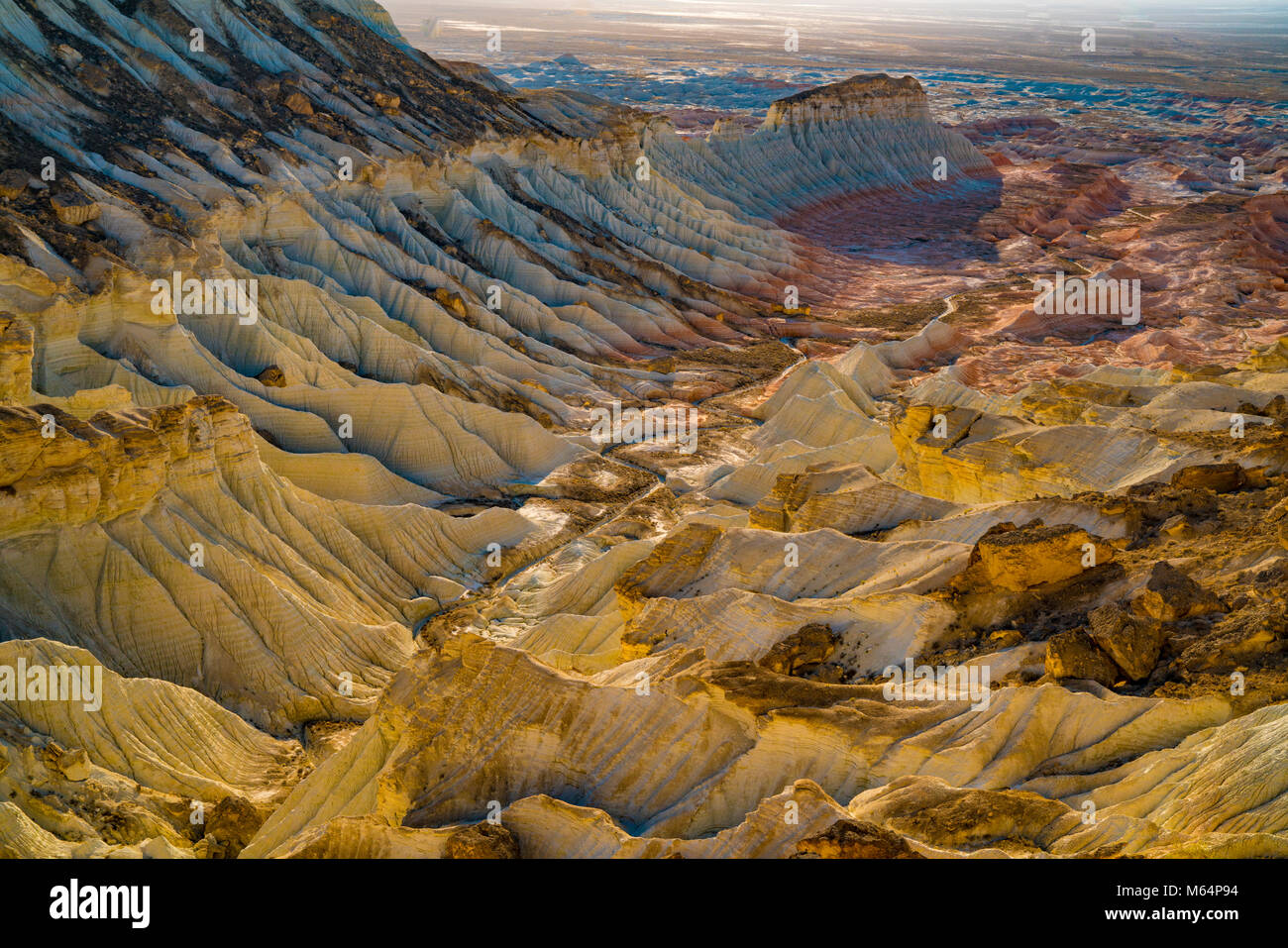 Yangikala Canyon, Turkmenistan Ust-Urt Plateau  naer Caspian Sea  Sunset - Stock Image