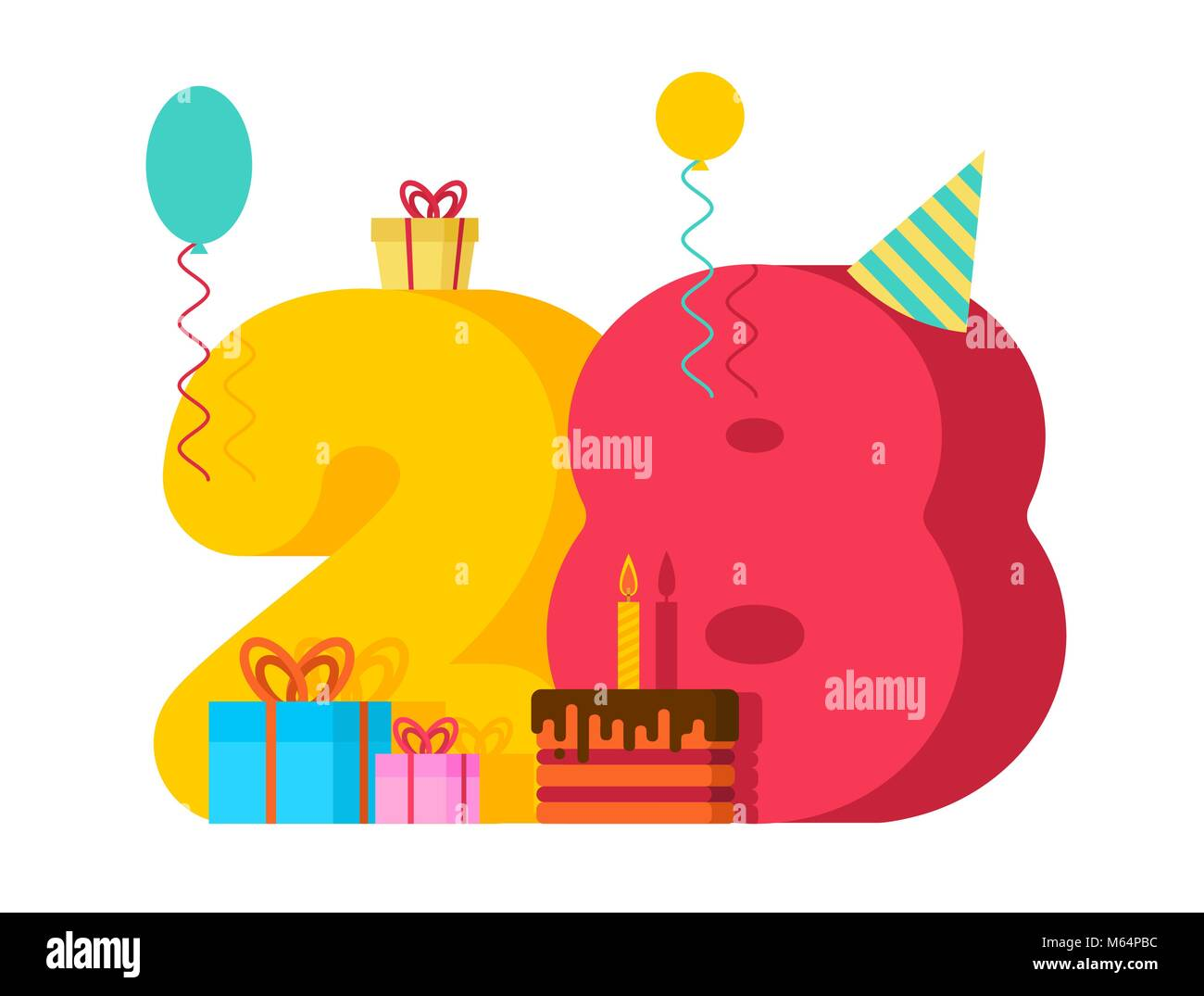 28 year greeting card Birthday. 28th anniversary celebration Template.  twenty eight number and festive piece of cake with candle. Balloon and Gift  box