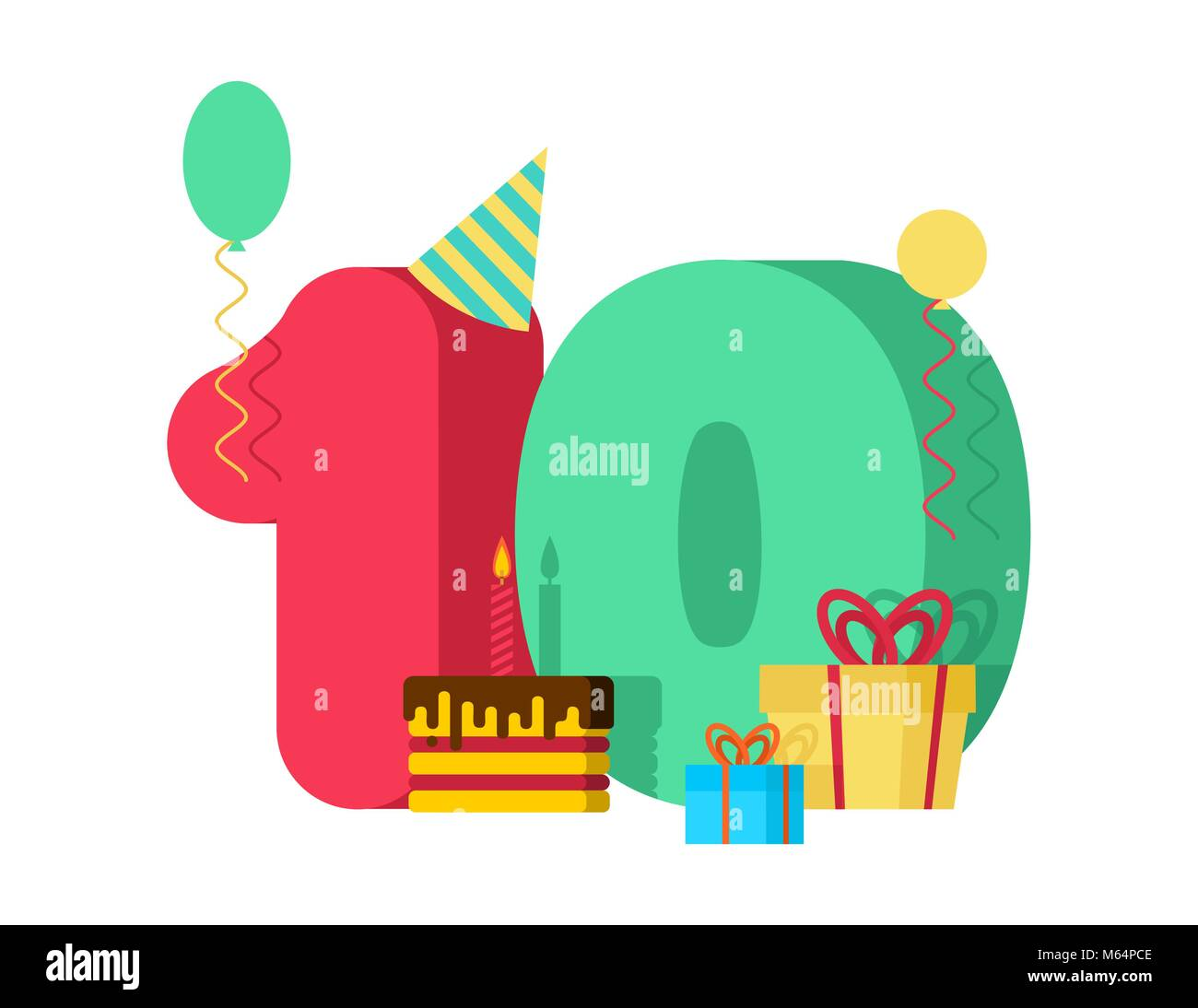 10 year greeting card Birthday. 10th anniversary celebration Template. ten number and festive piece of cake with - Stock Vector