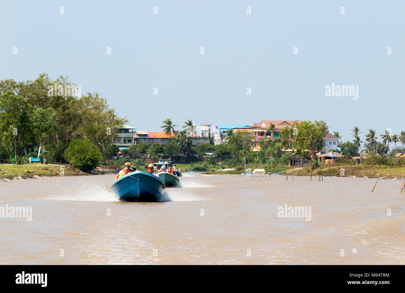 Tourists on a boat trip on the canals in southern Cambodia, Cambodia, Asia - Stock Image