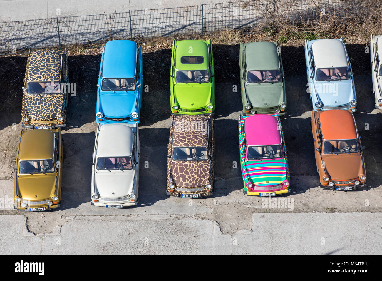 Old DDR Trabant cars, in different designs, Trabbi Point in Berlin, Germany - Stock Image