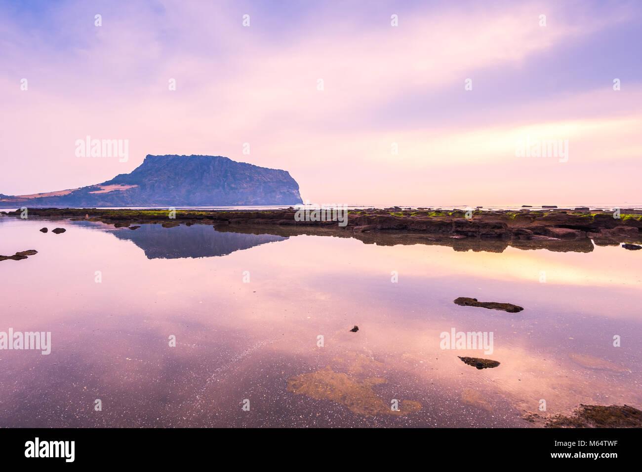 Sunrise of Jeju Do City at Seongsan Ilchulbong , Jeju Island, South Korea Stock Photo