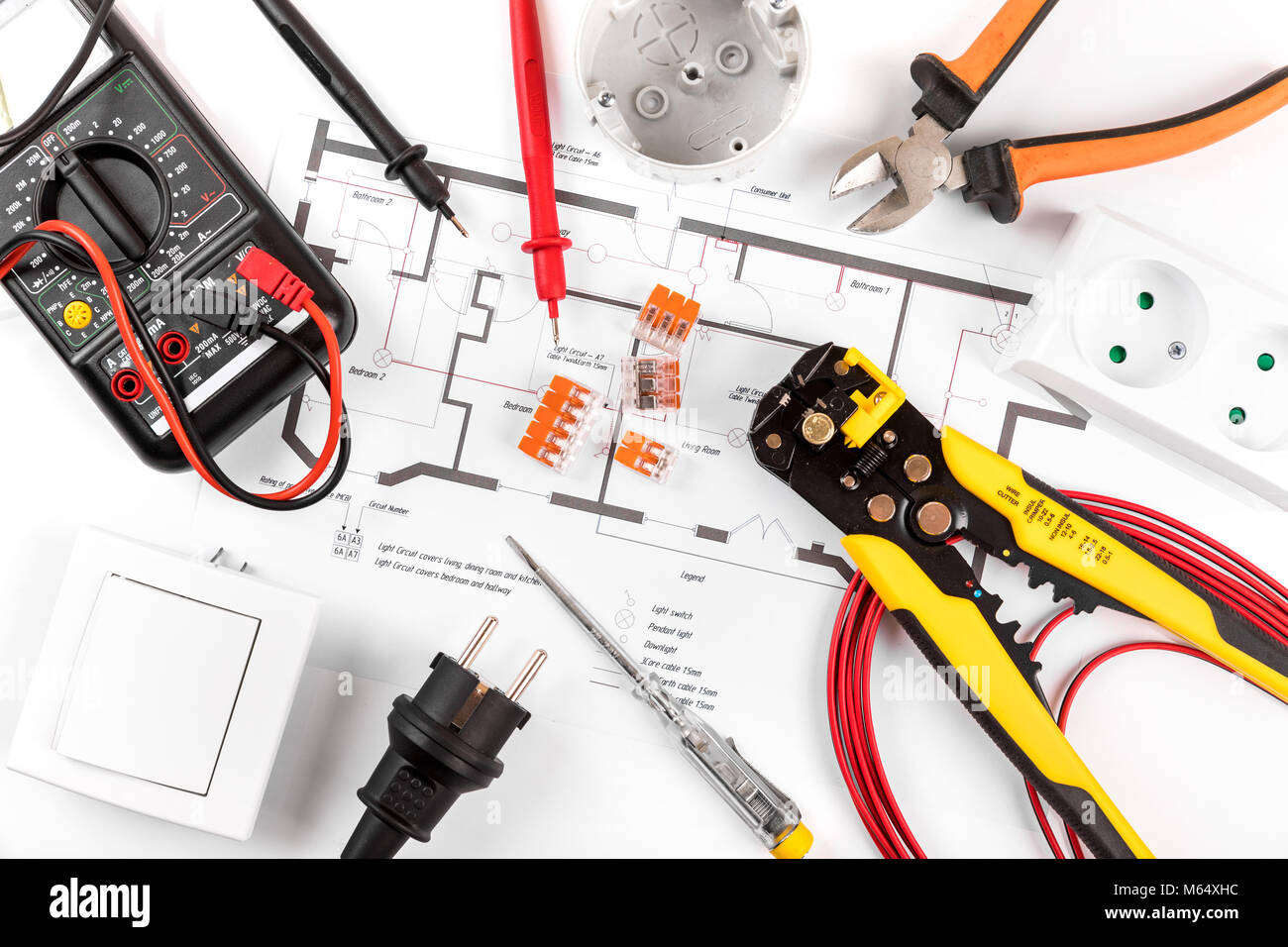 Electrical Cable Diagram Stock Photos Wire Room Tools And Equipment On Circuit Top View Image