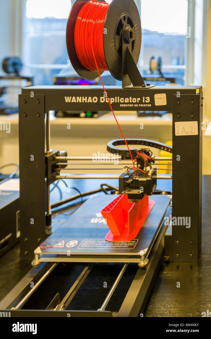 GOTHENBURG, SWEDEN - JANUARY 27 2018: 3D printer in action printing design  Model Release: No.  Property Release: - Stock Image