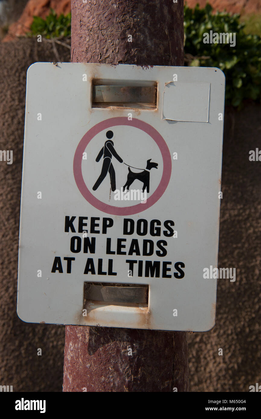 Keep dogs on leads at all times - Stock Image