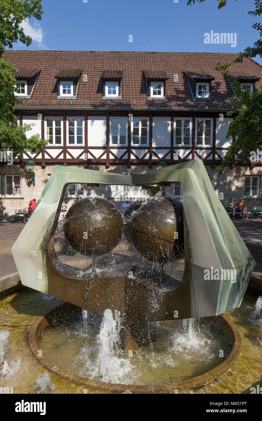 half-timbered house with well at Ballhof Spare, Hannover, Lower-Saxony, Germany, Europe I  Fachwerkhaus am Ballhof - Stock Image