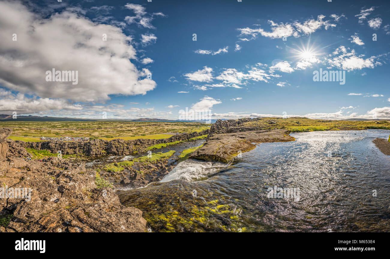 Almannagja fissure and Oxara river. Thingvellir National Park, a Unesco World Heritage Site, Iceland. - Stock Image