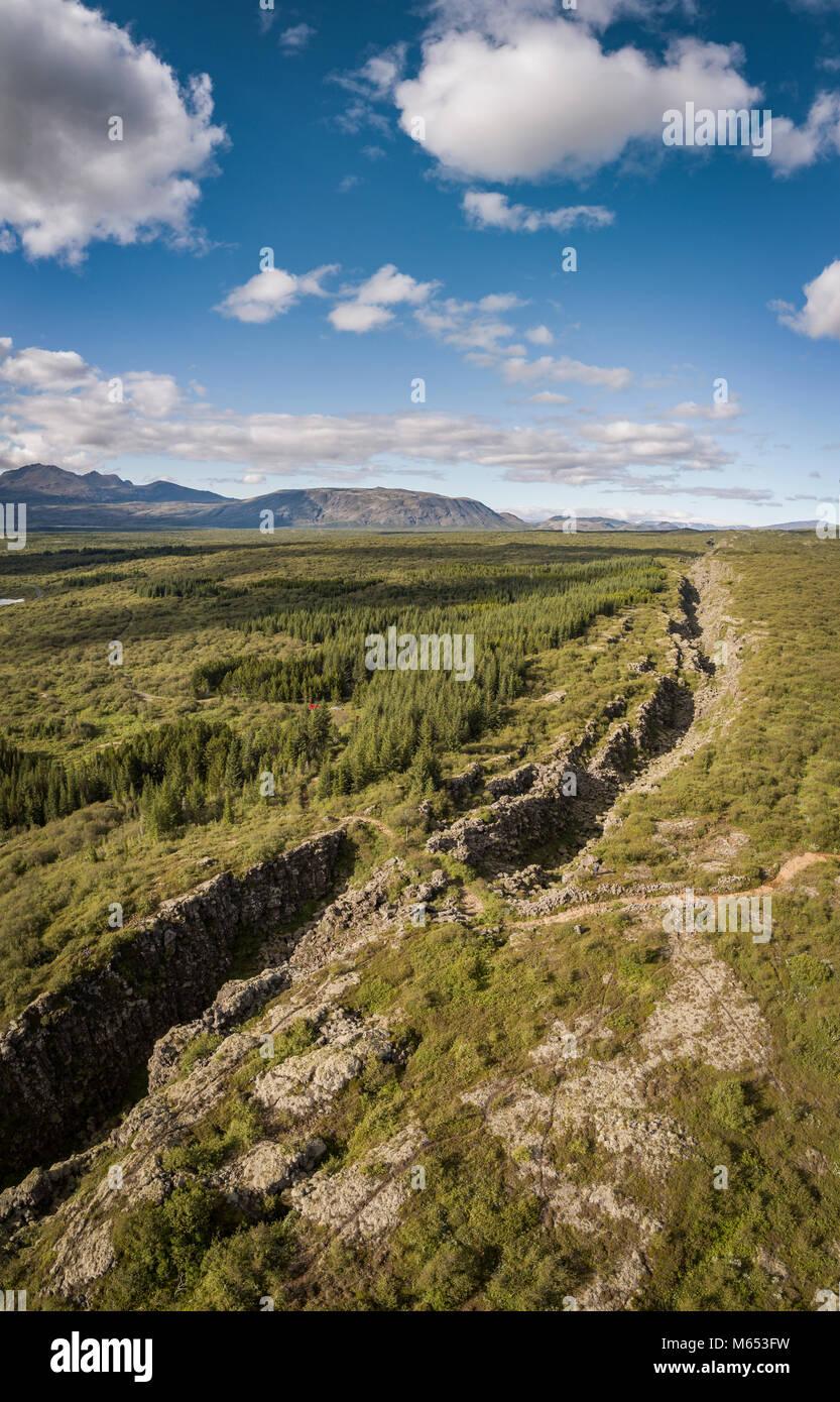Almannagja fissure. Thingvellir National Park, a Unesco World Heritage Site, Iceland. - Stock Image
