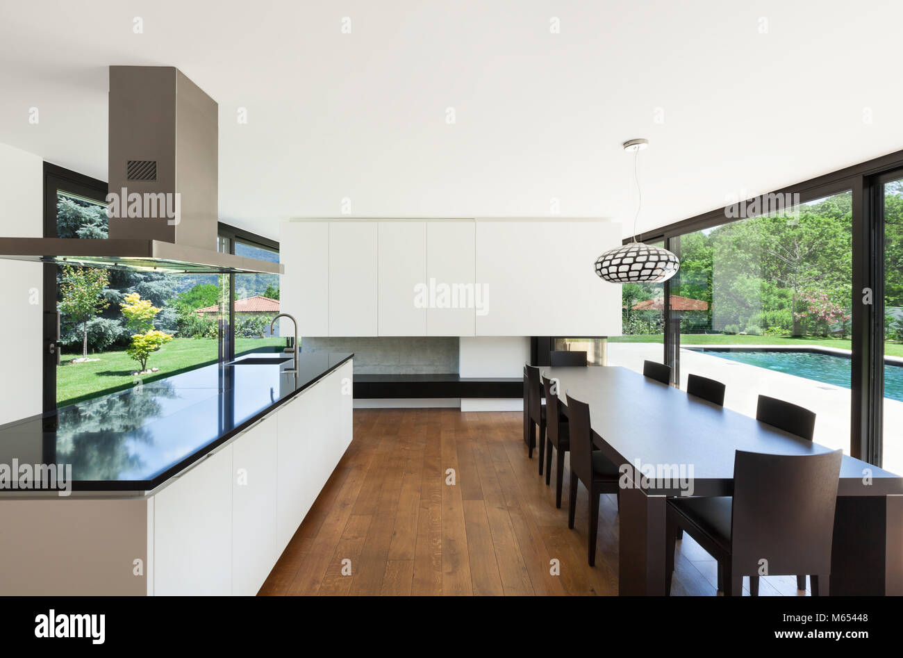 Modern villa interior beautiful dining room with kitchen island