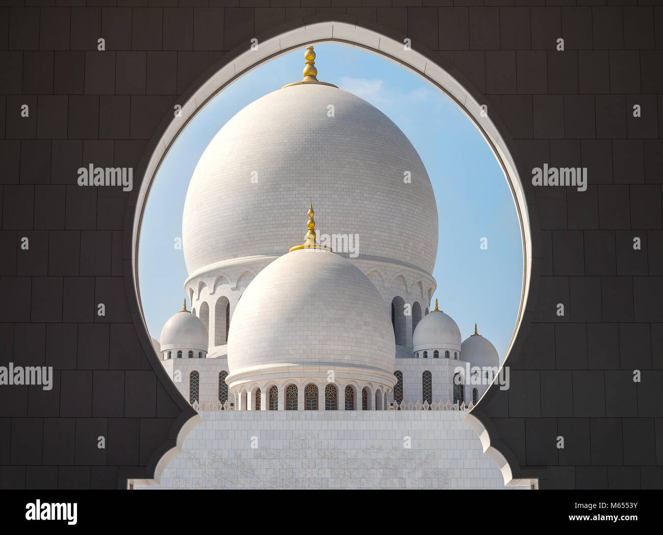 28th December 2017 - Abu Dhabi, UAE. Beautiful architecture and patterns of Sheikh Zayed mosque. Stock Photo