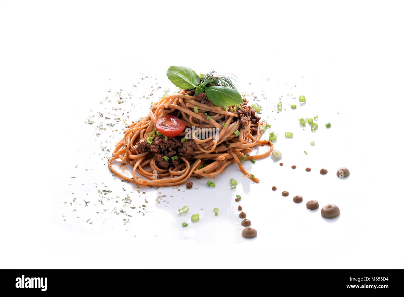 Pasta bolognese with ground meat - Stock Image