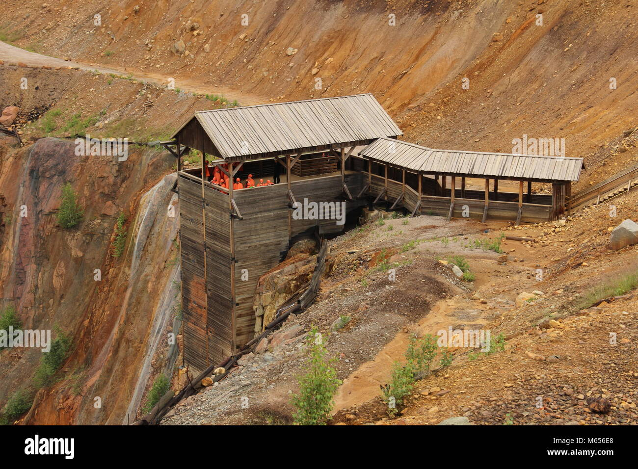 Tourists on their way down to the old copper mine in Falun - Stock Image