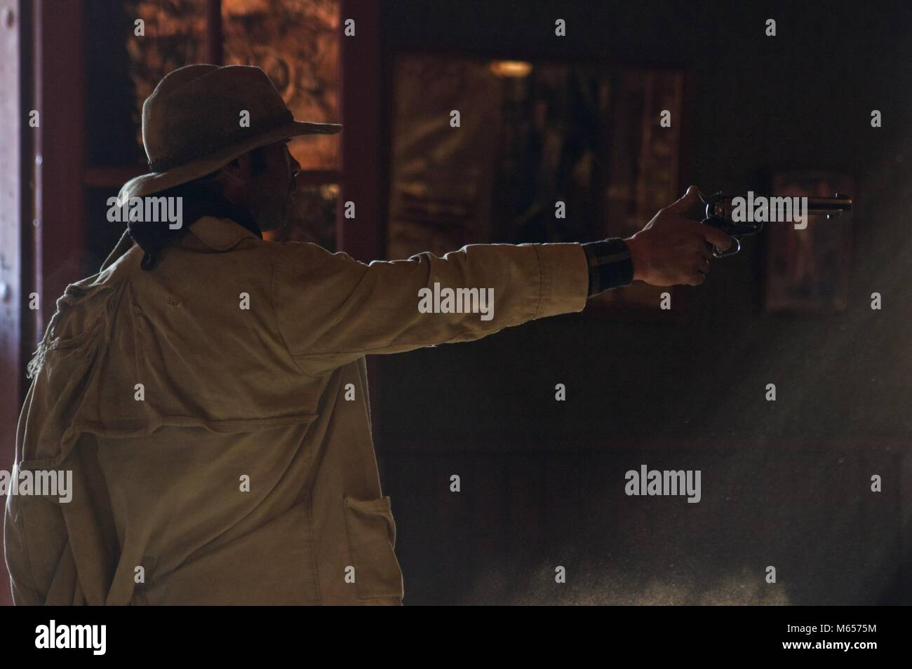 Gun slinging bandit at show at fort Bravo, Texas Hollywood, Tabernas, Spain - Stock Image