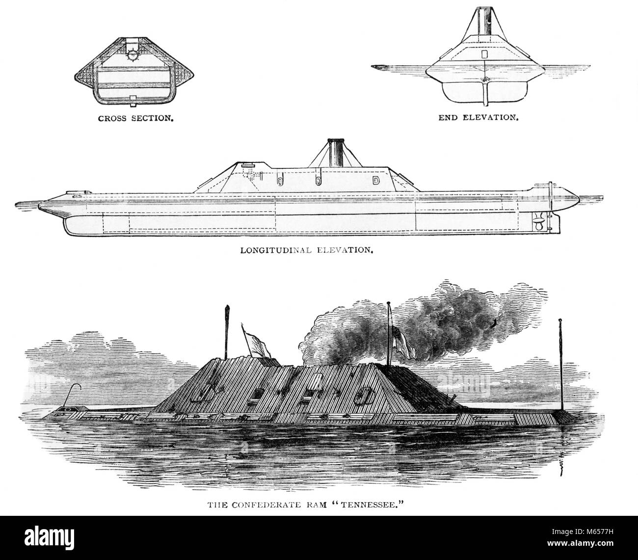 1860s AMERICAN CIVIL WAR CONFEDERATE NAVAL IRONCLAD RAM THE TENNESSEE VARIOUS VIEWS - h9844 HAR001 HARS RAM SCHEMATIC - Stock Image