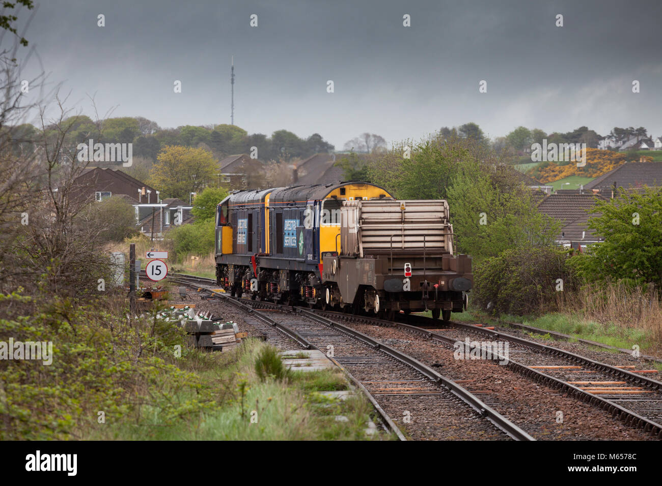 Direct rail Services class 20 locomotives 20308 + 20312 at Bare Lane  (Morecambe) with the nuclear flask train from - Stock Image