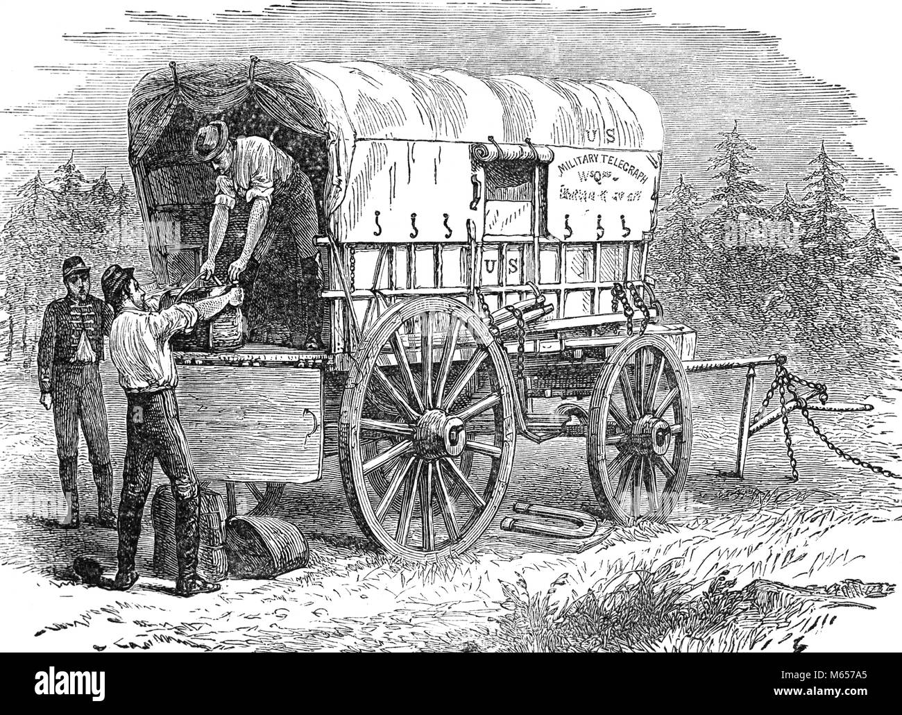 1860s UNITED STATES MILITARY TELEGRAPH WAGON AND SOLDIERS DURING AMERICAN CIVIL WAR - h9861 HAR001 HARS UNION AND Stock Photo
