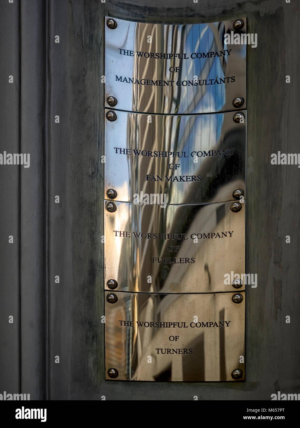 LONDON, UK: Livery Company Brass Name Plate - Stock Image