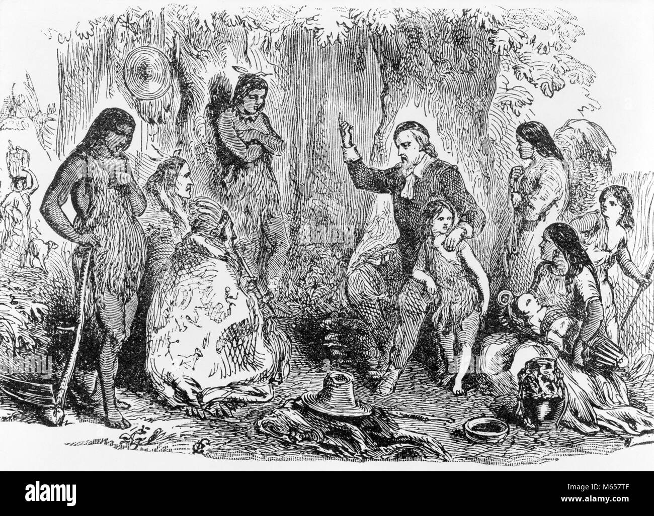 1600s ENGRAVING OF JOHN ELIOT PREACHING TO THE INDIANS OF MASSACHUSETTS KNOWN AS THE APOSTLE TO THE INDIANS - i7503 - Stock Image