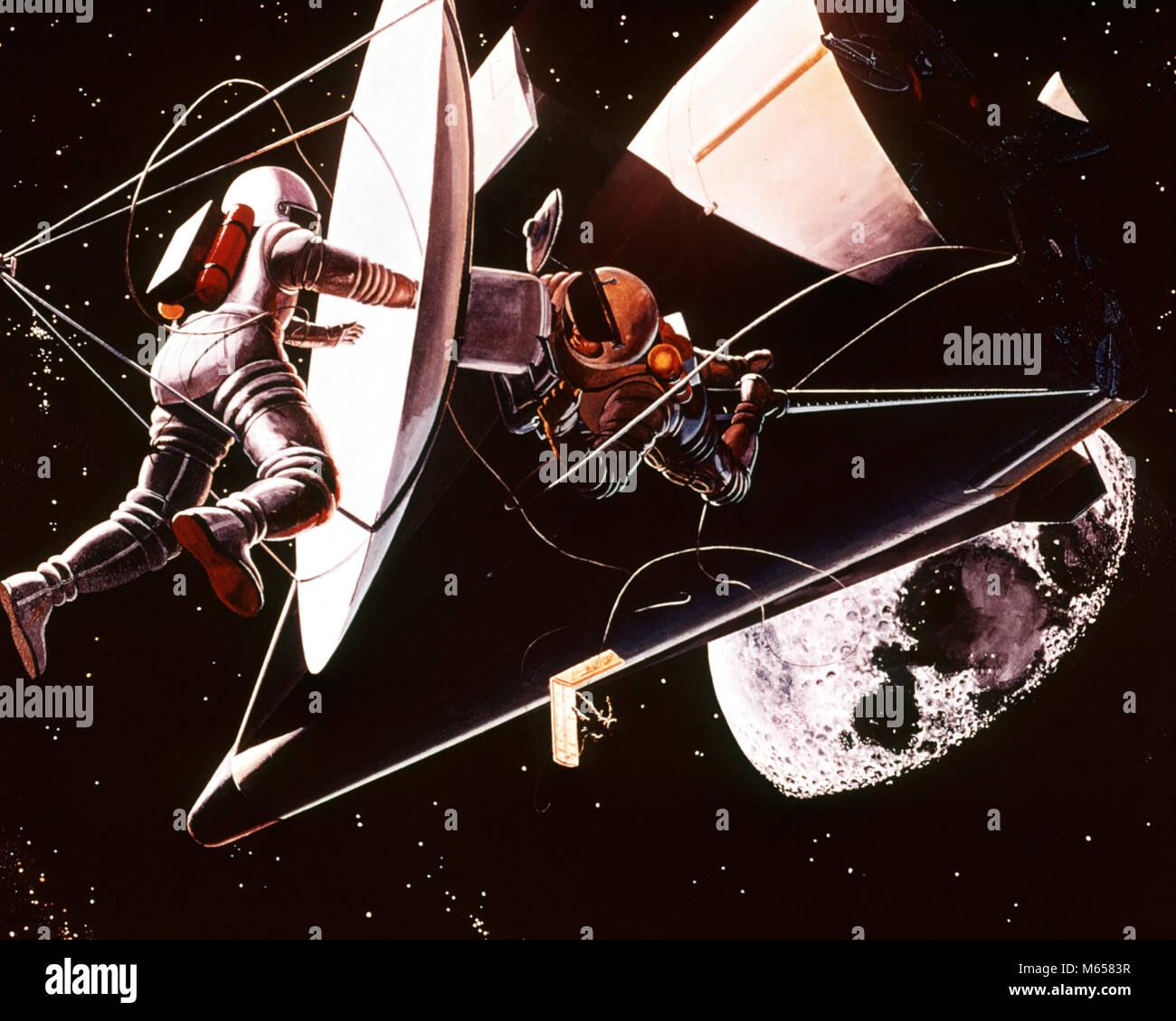 1960s NASA ILLUSTRATION DRAWING TWO ASTRONAUTS EVA WORKING DISK SPACE VEHICLE - ka1331 HAR001 HARS NOSTALGIA TOGETHERNESS - Stock Image