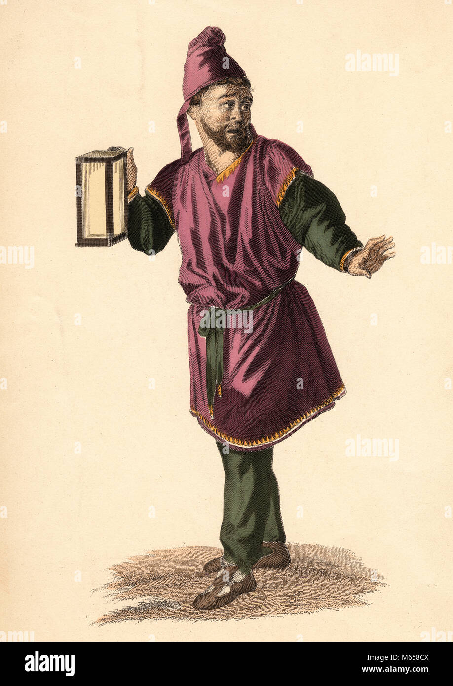 1600s CHARACTER SOSIE MOLIERE'S PLAY AMPHTRYON HOLDING LANTERN GREEK COSTUME WHO GOES THERE FEAR INCREASES EACH - Stock Image