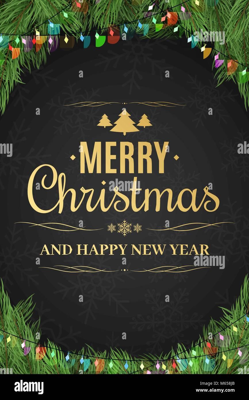 Christmas Poster.Christmas Poster Christmas Tree Garland Happy New Year