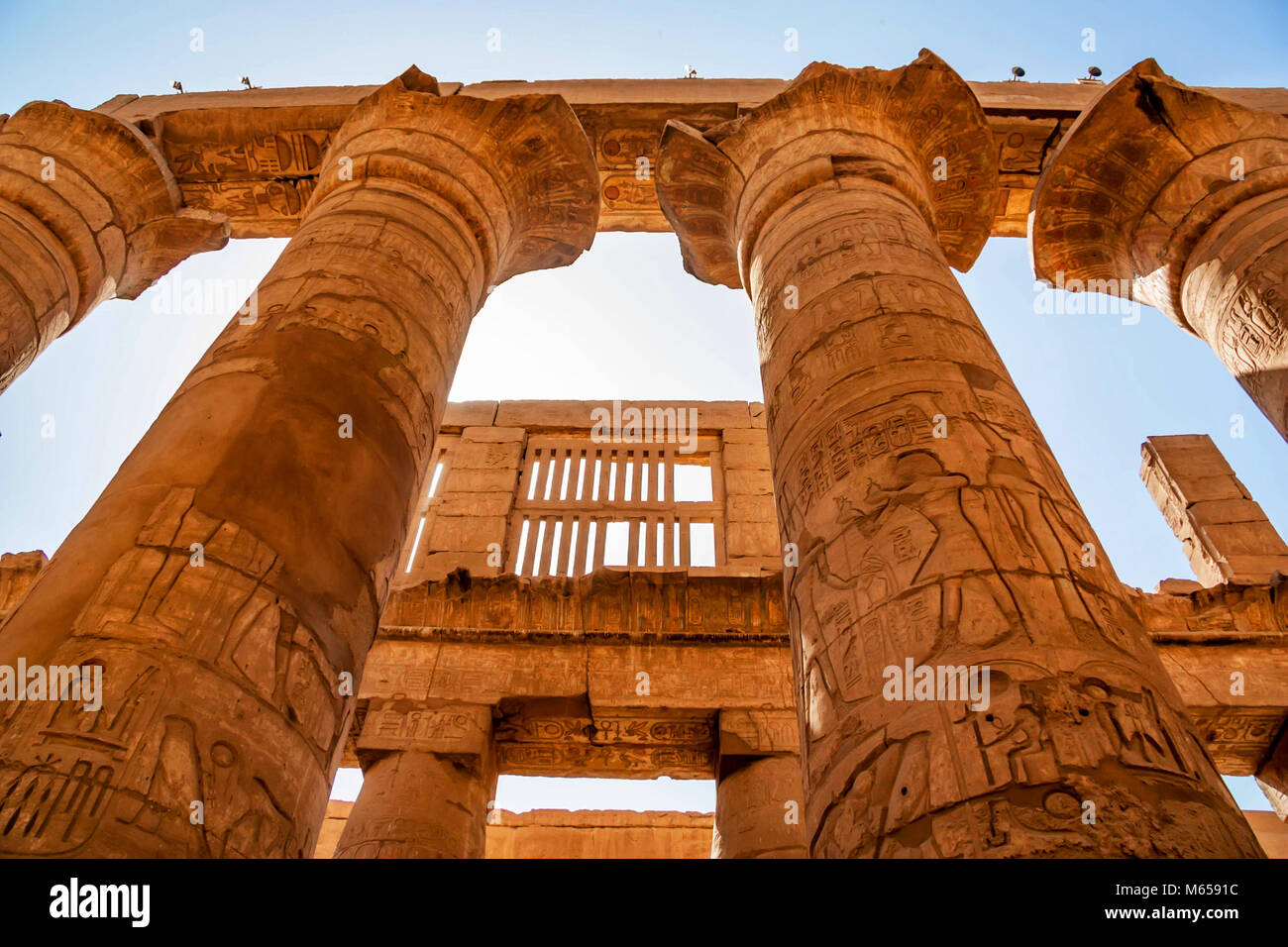 Great hypostyle hall at Temples of Karnak in Luxor - Stock Image