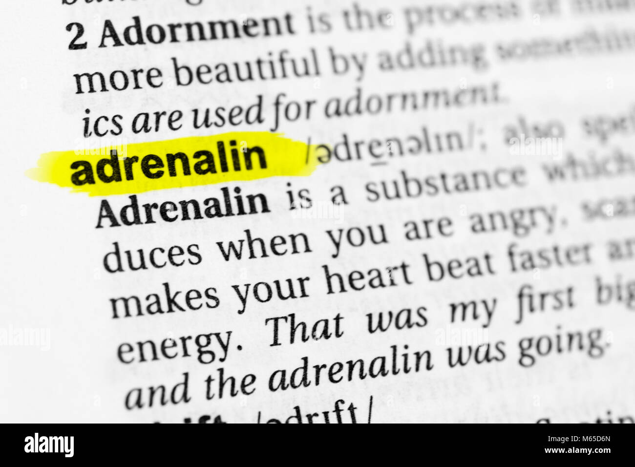 Highlighted English word 'adrenalin' and its definition in the dictionary. - Stock Image