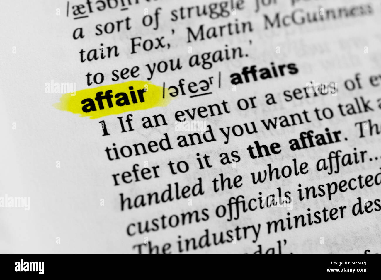 Highlighted English word 'affair' and its definition in the dictionary. - Stock Image