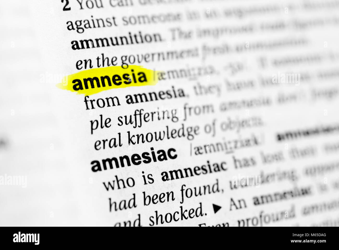 Highlighted English word 'amnesia' and its definition in the dictionary. - Stock Image
