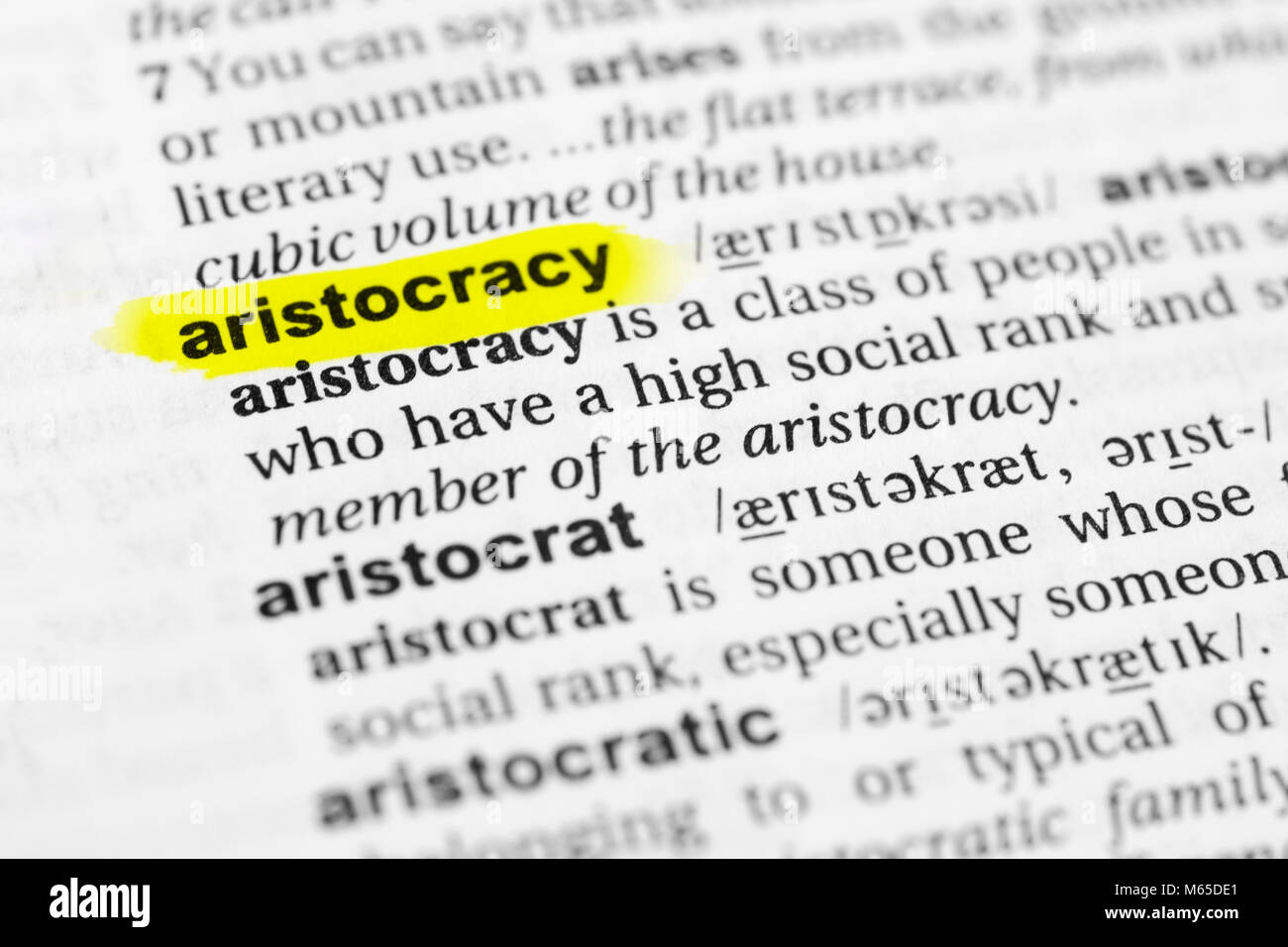 Highlighted English word 'aristocracy' and its definition in the dictionary. - Stock Image
