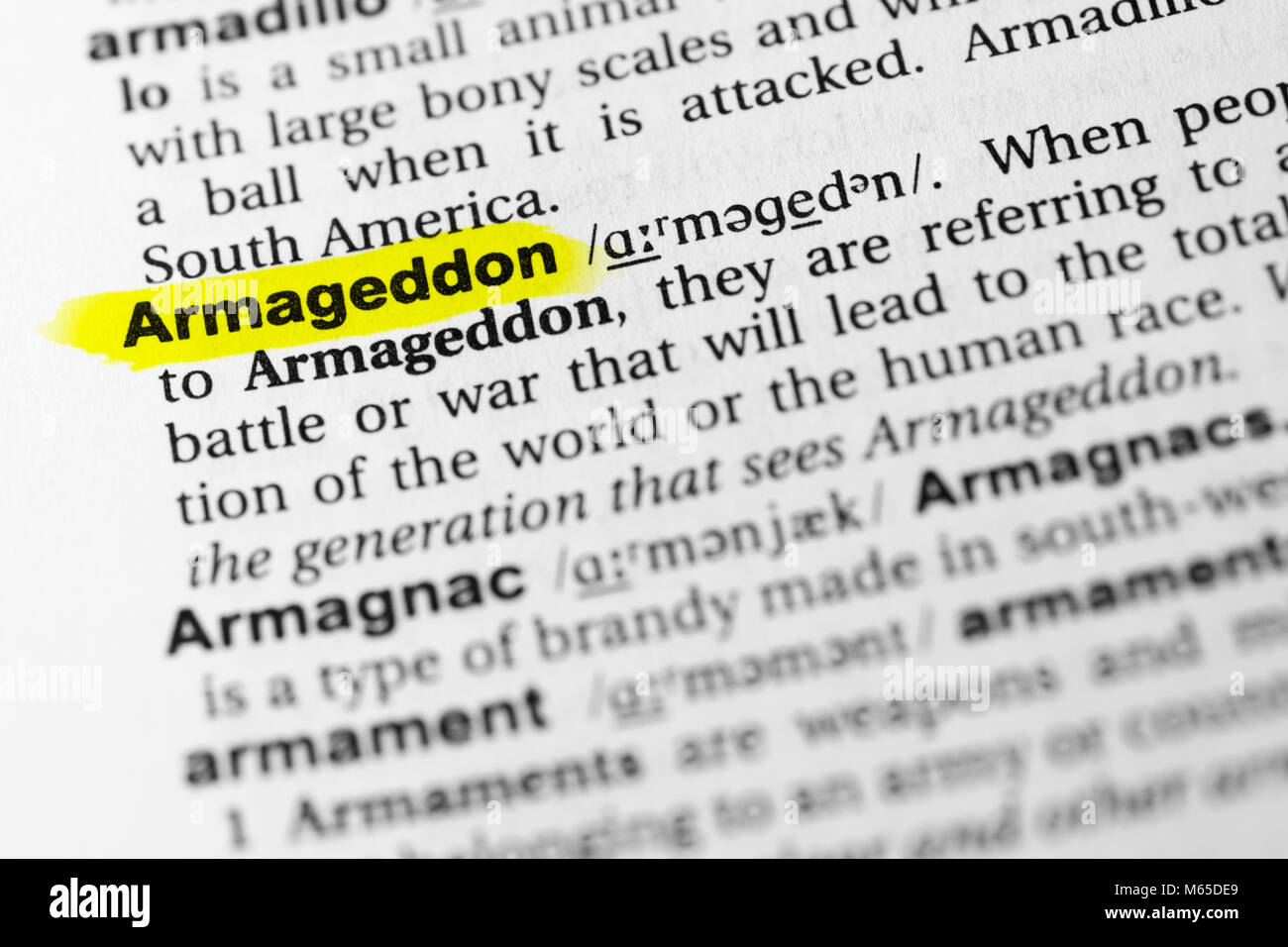 Highlighted English word 'armageddon' and its definition in the dictionary. - Stock Image