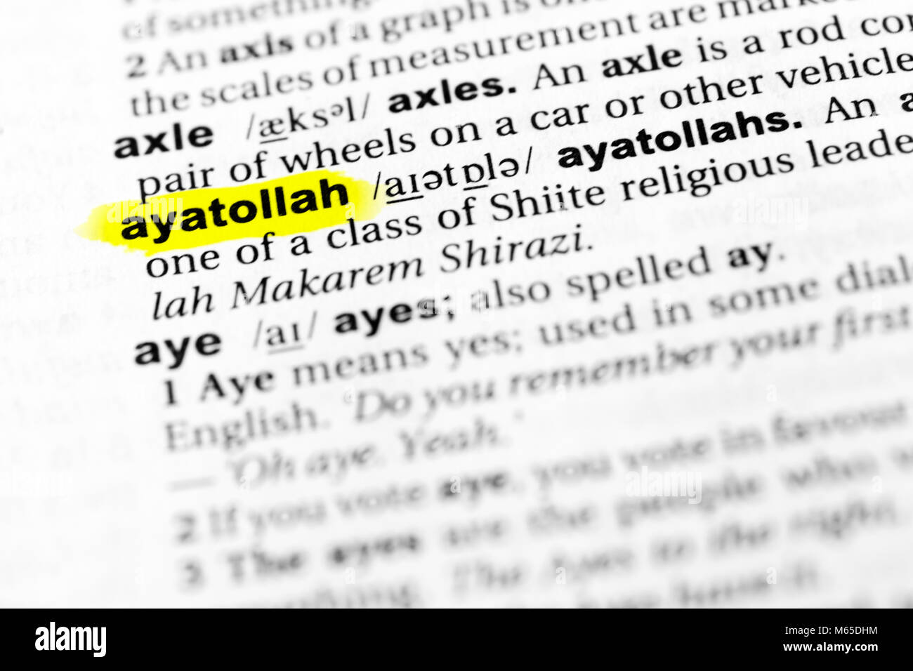 Highlighted English word 'ayatollah' and its definition in the dictionary. - Stock Image