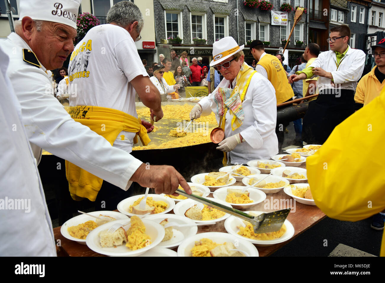 Cooking of an 10.000 egg omelette by the Confrererie Mondiale de l' Omelette Geante at Place de Rome, Malmedy Stock Photo