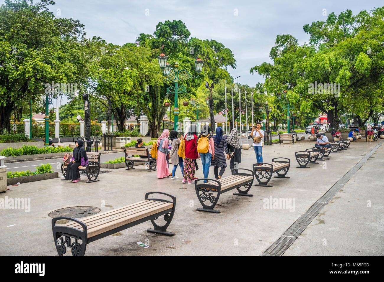 Indonesia, Central Java, Yogyakarta, Jalan Margo Mulyo near Kilometer Zero - Stock Image