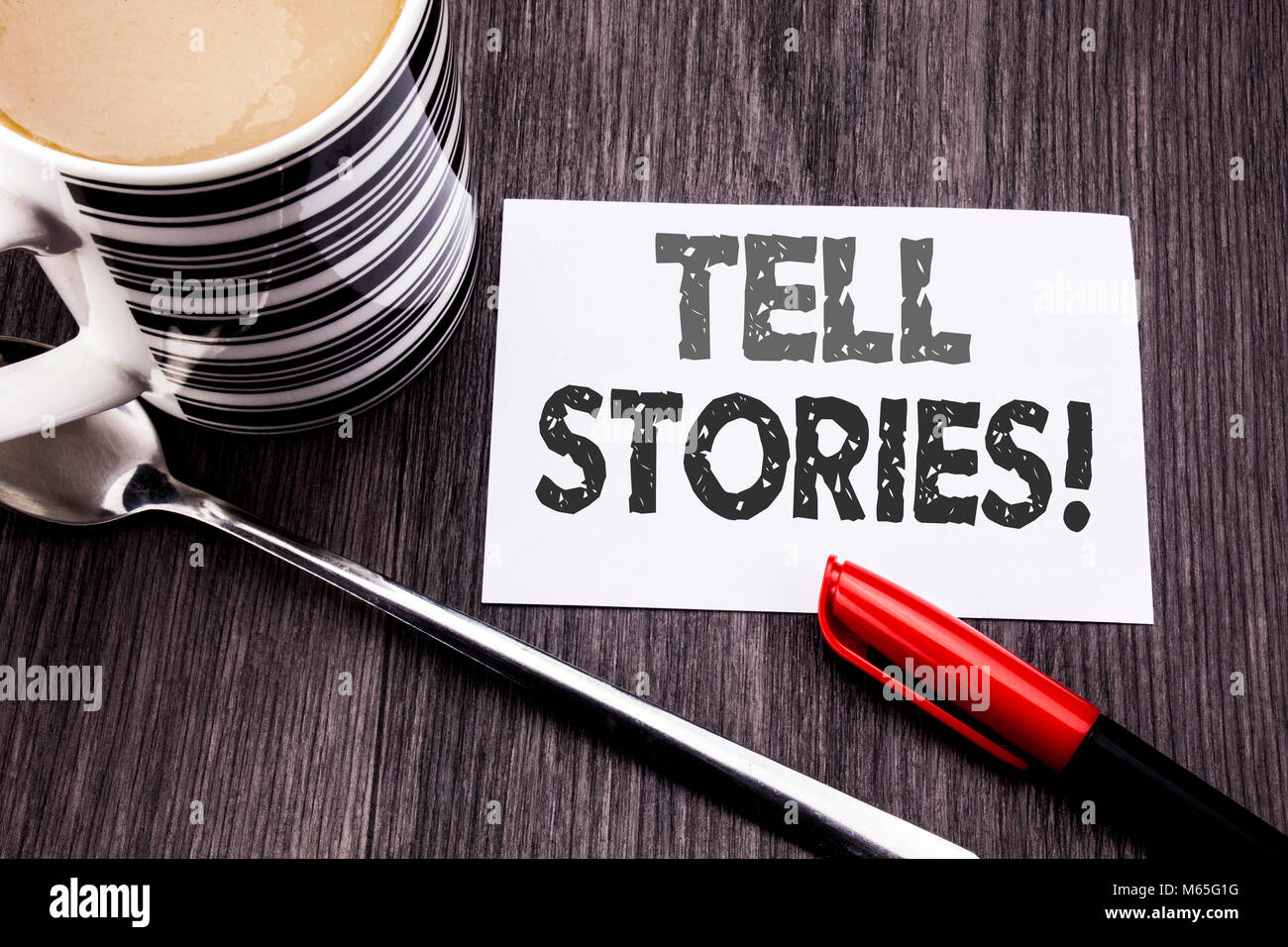 Conceptual hand writing text caption showing Tell Stories. Business concept for Storytelling Telling Story written - Stock Image
