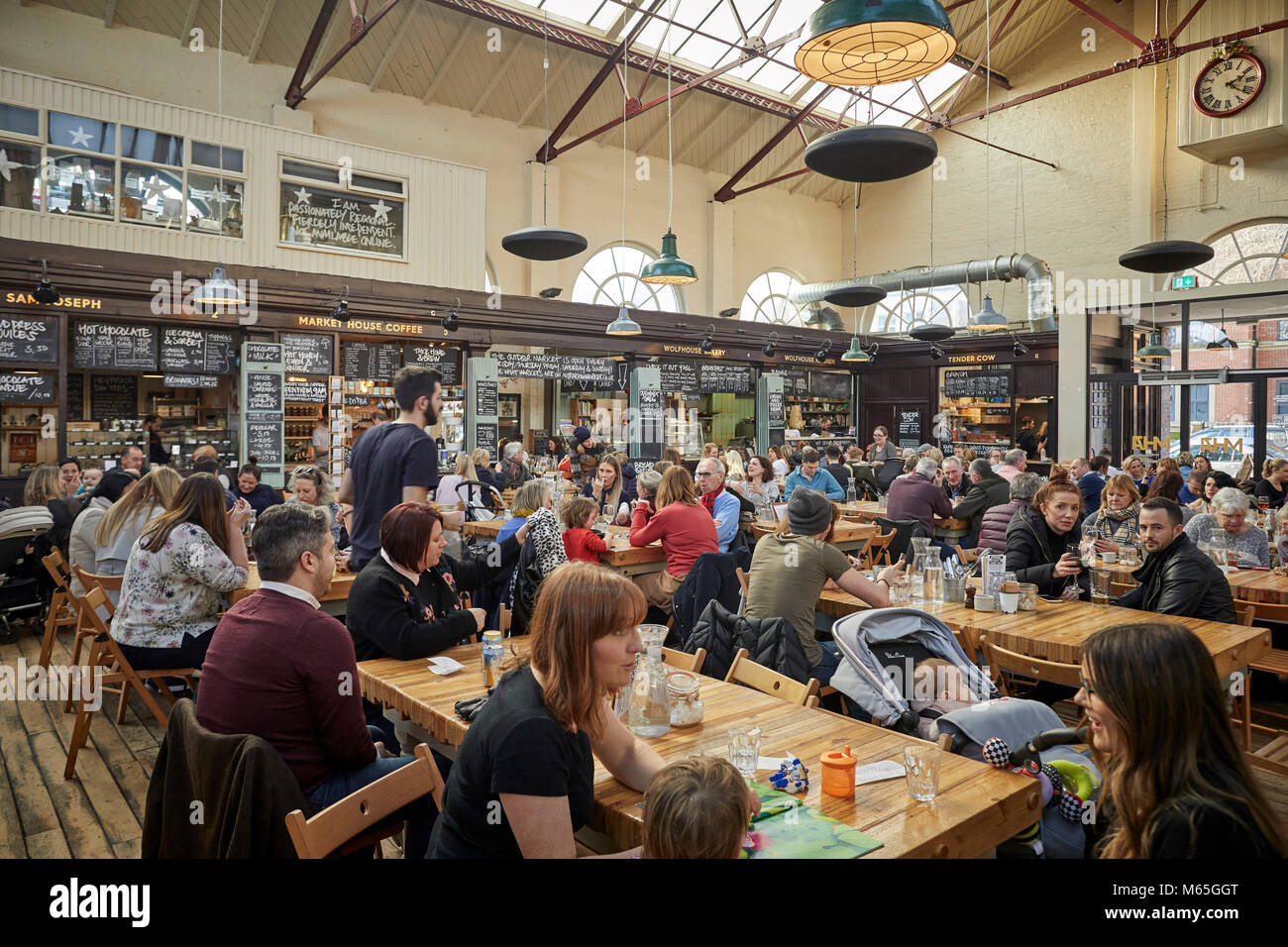 Market House Coffee stall in the Grade II listed Market house in Altrincham town centre, Cheshire. A busy and exciting food destination Stock Photo