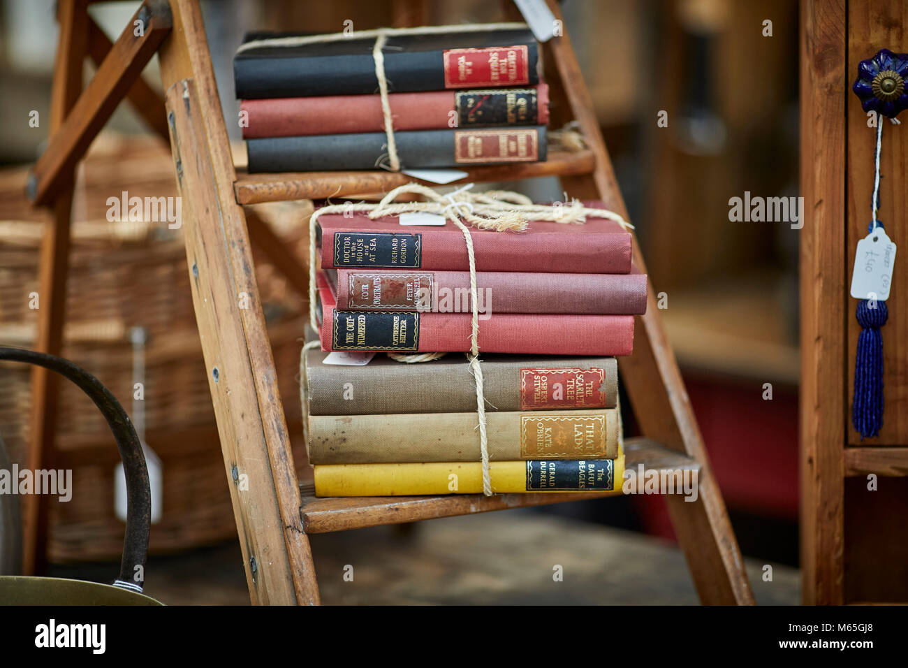 Book shop with a collection of books on sale at Altrincham Market, Cheshire - Stock Image