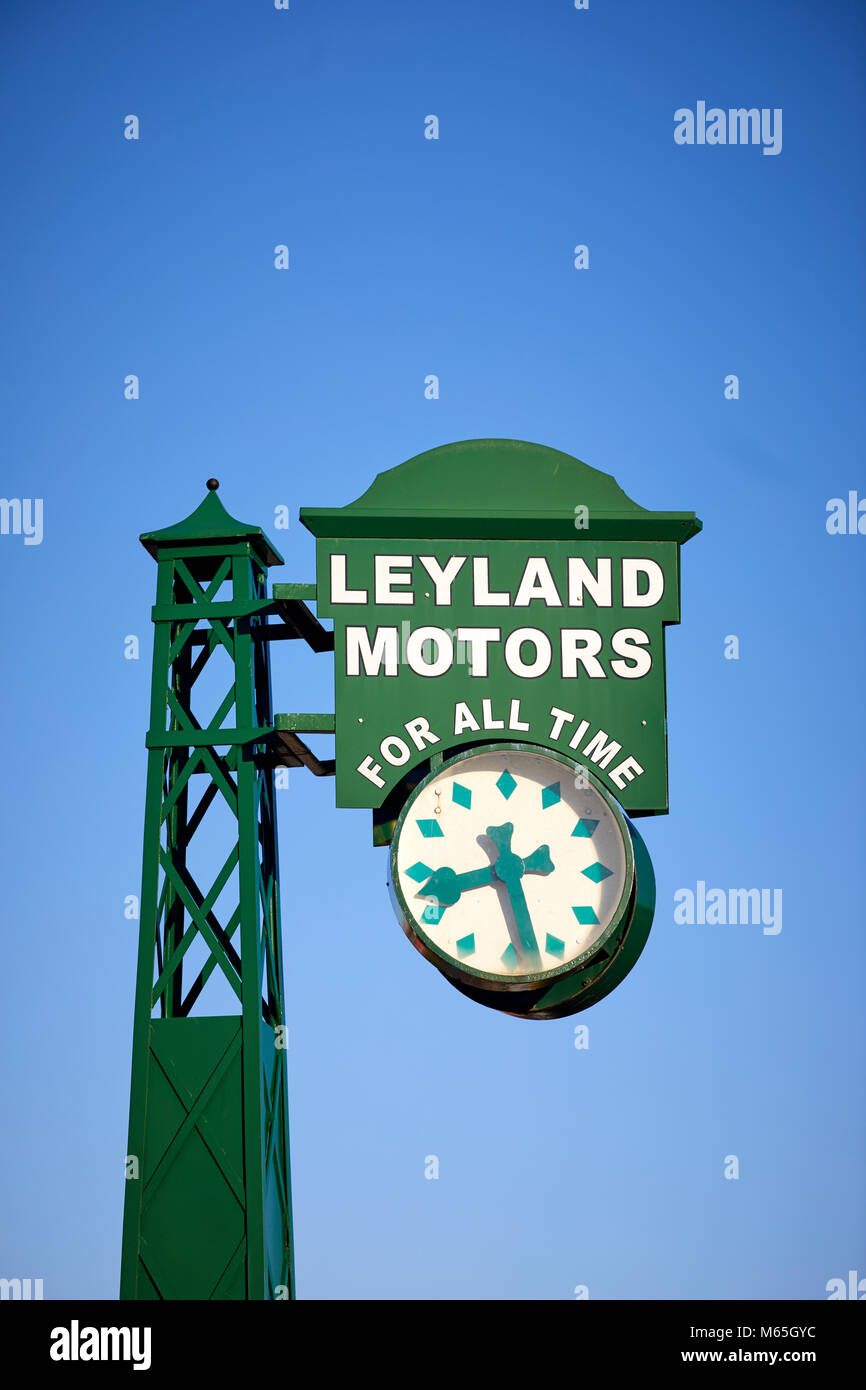 Leyland Village clock carrying slogan 'Leyland motors for all time', were installed at prominent positions - Stock Image