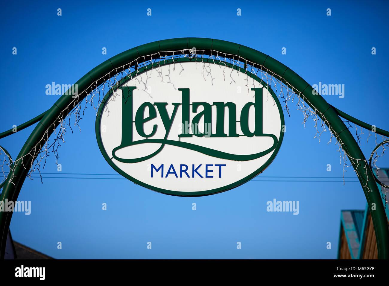 Leyland Market sign in the Lancashire village - Stock Image
