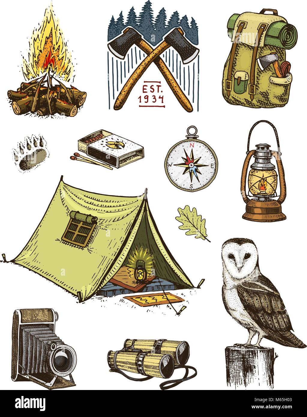 Camping Equipment Set Outdoor Adventure Hiking Traveling Man With Luggage Tourism Trip Engraved Hand Drawn In Old Sketch Owl And Binoculars